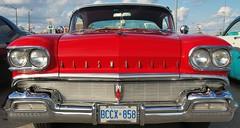 1958 Oldsmobile Super 88 two-door hardtop - Milton, Ontario (edk7) Tags: olympuspenliteepl5 edk7 2016 canada ontario gta haltonregion milton mainstreet gotransitparkinglot classic car cruise 1958oldsmobilesuper88twodoorhardtopconvertible vintage vehicle automobile auto passenger chrome whitewalltire chromemobile mobilelookstyling rocketv8371cubicinchfourbarrelcarburetor300hp