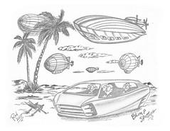 Blimp Spotting (rod1691) Tags: bw scifi grey concept custom car retro space hotrod drawing pencil h2 hb original story fantasy funny tale automotive art illistration greyscale moonpies sketch