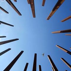 point to point navigation (jim_ATL) Tags: sculpture timfrank iron beams eastside beltline mockingbird bird flight minimal atlanta