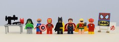 Superfans👊 (Alex THELEGOFAN) Tags: lego legography minifigure minifigures minifig minifigs minifigurine minifigurines marvel movie man monster micros mighty mask iron captain america hulk batman black robin super heroes dc comics superman suit flash the bat clothes homemade