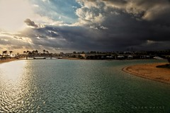 Last Days Of Summer  .. (Hazem Hafez) Tags: sea water coast beach coastline lagoon sand cabanas resort sky clouds gloomy morning early
