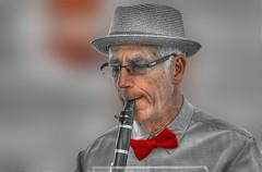 The Consummate Musician (swong95765) Tags: clarinet man elderly bowtie band entertainment dapper instrument playing bokeh