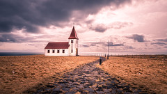 Hellnar church - Iceland - Travel photography (Giuseppe Milo (www.pixael.com)) Tags: view iceland sea hellnar church nature old travel sky countryside path hill town clouds westernregion is onsale