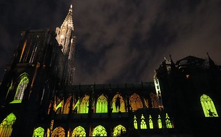 the almost eerily illuminated cathedral