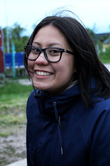 Evelyn (livsillusjoner) Tags: 2012 outside outdoor girl girls finnmark norway norge nesseby varangerbotn portrait people brunette glasses black brown blue green young teen happy smile smiling asian