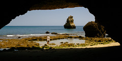 Hidden beach at Ponta da Piedade (Lagos, Portugal) (Steffen Kamprath) Tags: algarve attraction bay countryside day emount europa hill island lagos landmark landscape loneliness outside people portugal primelens sel24f18z sea seascape shore spot sunny tourism traveldestination travelphotography vacation water woman zeiss faro sonya6000 europe travel carlzeisssonnarte1824za ocean rural coast nature beach sight natural atlanticocean atlantic atlantico atlantik atlantischerozean oceanoatlantico