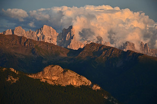 Evening view to the Pala di San Martino group in the Dolomites
