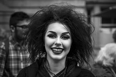 Black and White (Leanne Boulton) Tags: urban street candid spontaneous portrait portraiture streetphotography candidstreetphotography streetportrait spontaneousportrait eyecontact candideyecontact streetlife woman female girl pretty face facial expression look emotion feeling beauty beautiful makeup eyes lips lipstick smile smiling goth dark hair cheeky happy edinburghfestivalfringe fringefestival2017 fringe festival tone texture detail depthoffield bokeh naturallight outdoor light shade shadow city scene human life living humanity society culture people fashion style canon canon5d 5dmkiii 70mm ef2470mmf28liiusm character black white blackwhite bw mono blackandwhite edinburgh scotland