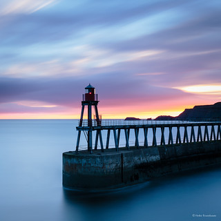 Whitby pier in water colours