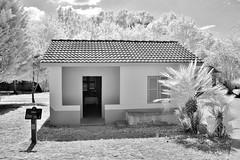 Ghana Style House IR (Neal3K) Tags: globalvillagediscoverycenter habitatforhumanity americusga georgia ir infraredcamera kolarivisionmodifiedcamera bw blackandwhite