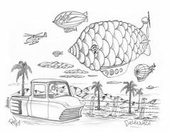 Dashawaza (rod1691) Tags: bw scifi grey concept custom car retro space hotrod drawing pencil h2 hb original story fantasy funny tale automotive art illistration greyscale moonpies sketch