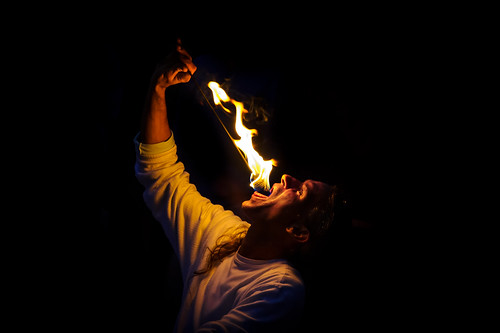Fire eater entertainer in Key West, Florida