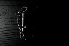 Give a little whistle (Macro Monday, sidelit). (Steve.T.) Tags: blackandwhite bnw whistle lowlight dark nikon d7200 antique brass texture inscription macro collectable mono macromondays sidelit