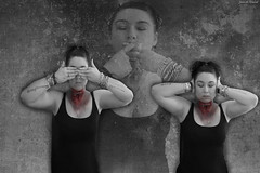 7/365 hear no evil see no evil speak no evil (www.Janedewaard.nl) Tags: wwwjanedewaardnl creative self portrait photography photoshop photoshopmanipulation manipulation digital digitalart woman