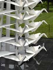 Lisle, IL, Morton Arboretum, Origami in the Garden, Master Peace (Artist: Kevin Box) (Mary Warren (9.1+ million views)) Tags: lisleil mortonarboretum art sculpture white origami kevinbox nature fauna bird crane