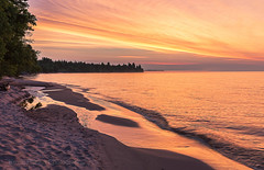Lake Superior Sunrise (Kevin Pihlaja) Tags: keweenaw upperpeninsula michigan coppercountry lakesuperior greatlakes sunrise clouds mist beach shoreline nature landscape serene morning summer trees