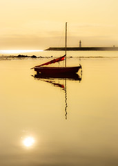 Red Sail   [Explored] (RonnieLMills) Tags: small boat red sail calm waters peace quiet still tranquil donaghadee harbour lighthouse county down northern ireland nikon d3300 sun reflected reflections explore explored 110917 15