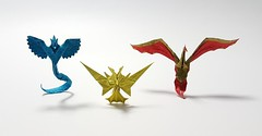 Legendary Birds (Henry Phąm) (joeygami) Tags: valor instinct mystic illustration painting drawing photography photo craft art paper design sculpture pokémongo legendarypokémon legendarybirds zapdos moltres articuno pokémon birds legendary origami