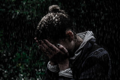 Hopes in Hands (slimcloudy) Tags: pixels rain photoshop edit hope hands sweater jumper green leaves sad emotion anger feelings emotions opportunist express deep