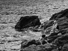 Fishing for Love (Aaron Cutter) Tags: fishing sea couple holiday rock spain costa brava summer