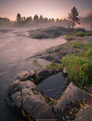 Early Autumn. (laurilehtophotography) Tags: koitelinkoski suomi finland nature landscape morning sunrise stream flow water river cliffs rock grass nikon d610 samyang 14mm autumn fall photography scene outdoor clouds