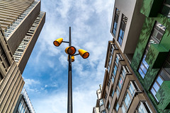 Follow the Street Light (devos.ch312) Tags: architecture sky lantern streetlight colorful cloudedsky sony a7rii ilce7rm2 a7rm2 zeiss fe2470mmf4zaoss ostend oostende belgium windowreflections christinedevos