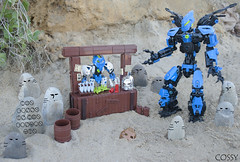 Po-Koro Marketplace (Ben Cossy) Tags: lego mata nui online game mnog cossy bionicle biotube biogram barrel market stall marketplace marketstall rock koro matoran toa