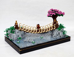 Swinging Bridge (Robert4168/Garmadon) Tags: lego japanese tree swinging bridge rope water lillypad rockwork light gray pink flowers transclear green vegetation brown ninja red dark gold black border japan oriental samurai