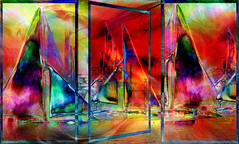 Boat Trip (abstractartangel77) Tags: triptych boats gardencentreornaments ink