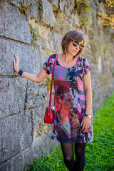 Robe pull (Elowdi) Tags: habit vêtement femme robe automne bimatières jersey gris rouge bracelet skai bleu création couture woman outfit clothes dress autumn grey red donna abito grigio rosso autunno creation sewing