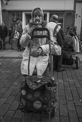 _DSC4089 (walkdontthink) Tags: streetphotography blackandwhite bnw bw people bristol southwest uk reflection backstreet urban nikon j1 bag old monochrome contrast shopping shoppingtrolley smoking shadow shade silhouette black white