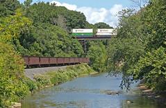 Meeting of the Trains (craigsanders429) Tags: bessemerlakeerie conneautohio conneautcreek norfolksoutherntrains norfolksouthern nsstacktrains intermodaltrains nsbuffalodistrict water waterways canadiannational cntrains