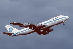 N730PA Boeing B747-212B EGPK 1986 (MarkP51) Tags: n730pa boeing b747212b b747 jumbojet panamericanairlines paa airliner pan ampaprestwickairportpikegpkscotlandaviationaircraftairplaneplaneimagevintagekodachromeslidefilmscanaviation photography