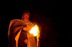 Power of Fire (elizunseelie) Tags: arran scotland scottish nature wild fall autumn burning circle pagan neolithic ritual ceremony recreation reenactment pentax k5 tamron people portrait torches torch light flaming flames fire costume paganism stone age shamna shaman night darkness magic