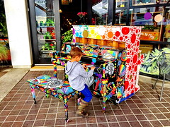 Piano outside the Lonsdale Quay Market (+2) (peggyhr) Tags: peggyhr tr pianoatthequay colourful grandson vancouver bc canada