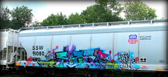 (timetomakethepasta) Tags: freight train graffiti art selkirk new york photography union pacific grainer ssw benching alone