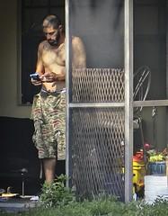 Shirtless Suburbanite 1 (LarryJay99 ) Tags: unposed happyshirtlesssundayhss handsome cargopants camouflage male guy dude smartphone lakeworth nipples bellybutton mustaches facialhair unsuspecting candid unterwareline cargo men man guys dudes smoking florida urbanite beard goatee face hotman hunk hairy hairychest tattoos peekingnipples peekingpits urban shirtless camo bulge hairydude