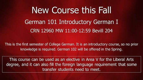 New Course this Fall-German 101