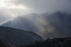 Storm over Colca Canyon (kate willmer) Tags: storm light sunshine rays clouds mountains hills weather colcacanyon canyon gorge peru