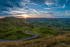 Sunset over Edale Valley, Peak District (tbnate) Tags: tbnate nikon nikond750 d750 tamron tamron1530 ultrawideangle ultrawide sunset valley edale mamtor edalevalley peakdistrict peak district derbyshire hill hills outdoor outside landscape sun clouds road sky grass nature panorama vanishing point vanishingpoint