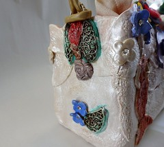 PEARL SWAROVSKI EVENING CLUTCH BAG (anninaziotou) Tags: clutch bags evening swarovski wedding brides bag bridesmaid pearl mettalic gold leaf bling japanese clay gown flowers blue pink red mica butterfly designer chain purse fabric handmade wallet etsy craft polymer