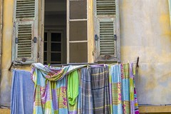 Somewhat Worn (Nice, France) (peterwaller) Tags: somewhatworn nice france europe decay window laundry clothesline