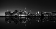 Manhattan from Brooklyn Bridge Park, New York (Domi Art Photography) Tags: ny nya newyork manhattan blackandwhite bow bw panoramic cityscape seascape landscape skyscraper skyscrapers building buildings empirestatebuilding brooklyn bridge worldtradecentre downtown eastriver usa