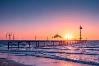 Brighton Beach jetty at sunset
