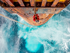 Today at the Office (Craig Hannah) Tags: ropeaccess ropeaccessphotos ropeaccesstechniques offshore inspection northsea abseil abseiling ascent sea craighannah august 2017 scotland uk oil rig gas platform outboard