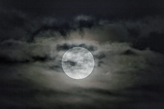 Full Corn Moon in the Clouds