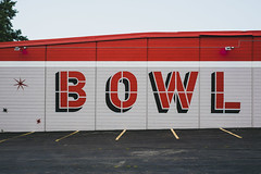 (wickedmartini) Tags: red bowling bowl sports americana graphic lettering parkinglot color vintage