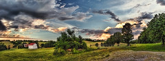 IMG_4352-54sPtzl1TBbLGER (ultravivid imaging) Tags: ultravividimaging ultra vivid imaging ultravivid colorful canon canon5dmk2 clouds fields farm landscape lateafternoon scenic summer pennsylvania pa vista panoramic rural sunset sunsetclouds barn gate trees twilight stormclouds