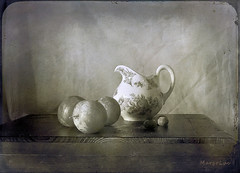 Vintage Still Life ... (MargoLuc) Tags: fruits summer table pottery white jug vintage apricots blueberries natural light soft shadows bw monochrome stilllife texture