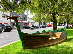 Dragon boat bench (JulieK (thanks for 6 million views)) Tags: bench hbm wellingtonbridge road green grass iphonese wexford ireland irish trees dragon wooden carved boat